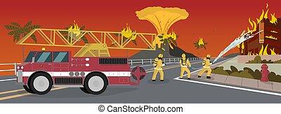 oheň, vektor, karikatura, ilustrace, extinguishing