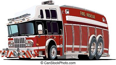 oheň, vektor, podvozek, karikatura