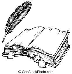 opeřit, kniha, povzbuzující trávení, kreslení