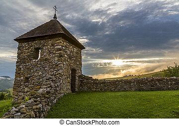 opevnění, watchtower, ruine, hussite