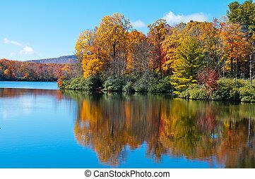 oplzlý páteř, cena, zrcadlit, vynořit se, jezero, listoví, podzim, dálnice