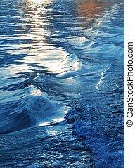 oplzlý zředit vodou, západ slunce, moře, vlání, brázda, dopravovat