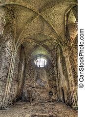 opuštěný, století, klášter, 13, troska, augustinian