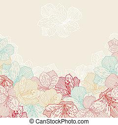 orchid., květ, abstraktní, seamless, elegance, grafické pozadí