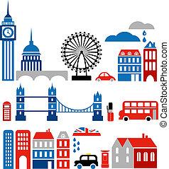 orientační bod, vektor, londýn, ilustrace