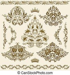 ornaments., vektor, dát, damaškový