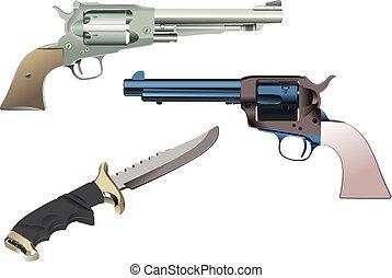 osamocený, ilustrace, grafické pozadí., vektor, revolver, nůž