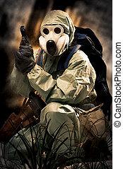 osoba, maskovat, portrair, plyn