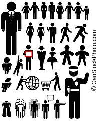 osoba, znak, dát, silueta