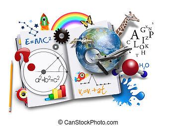 Otevřená kniha s vědou a matematikou