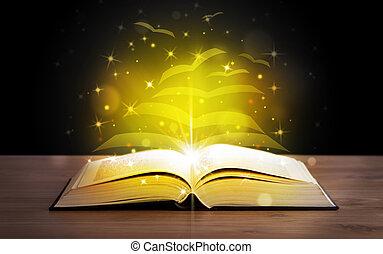 Otevřená kniha se zlatými listy