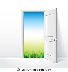 Otevřené bílé dveře a přírodní ilustrace