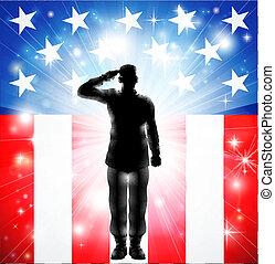 ozbrojený, nám, zdravající, vojsko, prapor, válečný, voják, silueta