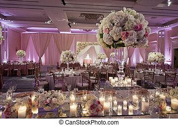ozdobený, beautifully, ballroom, svatba
