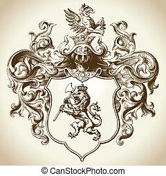 ozdobený, heraldický, symbol
