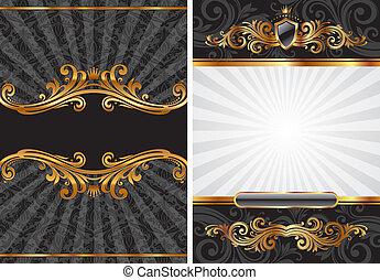 ozdobný, dát, zlatý, i kdy, vektor, čerň, přepych, grafické pozadí