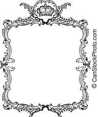 ozdobný, illustration., vinobraní, vektor, ozdobený, frame.