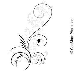 ozdobný, ilustrace, květinový, flourishes, vírovaní, vektor, pralátka