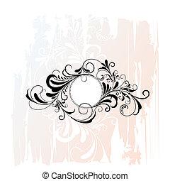 ozdobný, květinový, kruh, okrasa