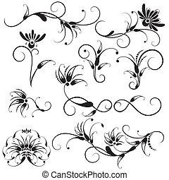 ozdobný, květinový nádech, design