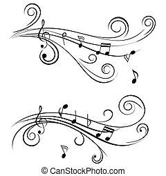 ozdobný, noticky, hudba