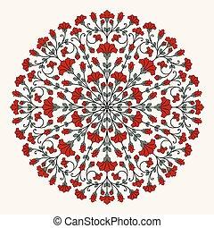 ozdobný, pattern., kolem, krajka