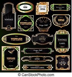 ozdobný, zlatý, dát, labels., vektor, čerň, nastrojit co na koho