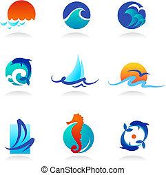 příbuzný, ikona, moře, vybírání