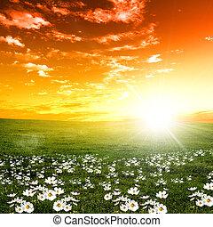 Přírodní krajina a západ slunce