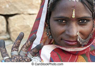 Přístav ženy z Indie Rajasthani