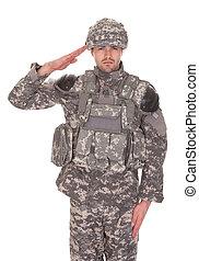 Přístav muže v uniformě