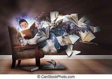 Představ si, že si kluk čte knížky v křesle