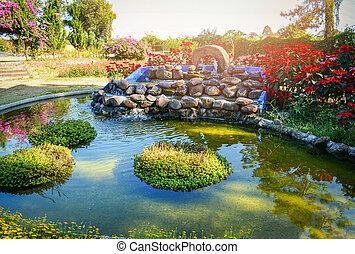 překrásný, bylina, zahrada, kámen, namočit, vodopád, design, malý, rybník, krajina
