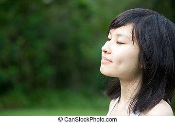 překrásný, děvče, udělat si rád, asijský, venku