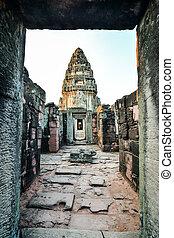 překrásný, fotografie, thajsko, phimai, troska, asie, zaujatý, thai