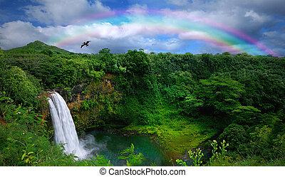 překrásný, hlava, vodopád, havaj, názor