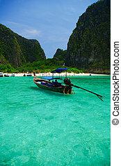 překrásný, konzervativní, moře, asie, člun, thajsko, jih