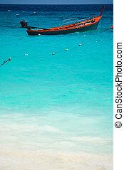 překrásný, konzervativní, thajsko, asie, člun, jih, moře, červeň
