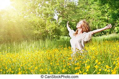 překrásný, léto, děvče, udělat si rád, slunit se