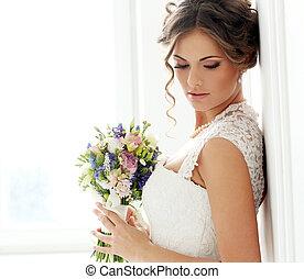 překrásný, nevěsta, wedding.