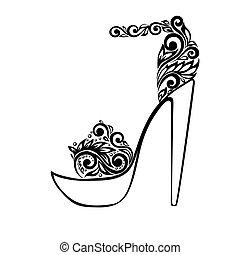 překrásný, okrasa, sandály, čerň, květinový, ozdobený, neposkvrněný