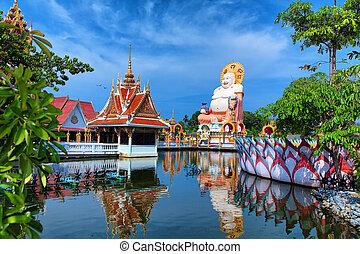 překrásný, pagoda, druh, pohybovat se, obrazný, grafické pozadí., buddha, thajsko, chrám