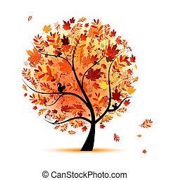 překrásný, podzim, design, strom, tvůj