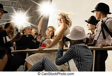 překrásný, superstar, jako, ji, mnoho, kino, dobytí, pohled, fotograf, klást, blond, děvče, dokola