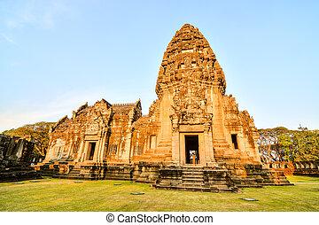 překrásný, thai, fotografie, troska, zaujatý, phimai, thajsko, asie