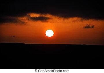 překrásný, večer, mračno, nad, let, ázerbájdžán, jezero, čas, baku, clouds., hora., rána