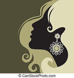 překrásný, vlas, děvče