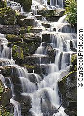 Překrásný vodopády nad kameny v pustém lese