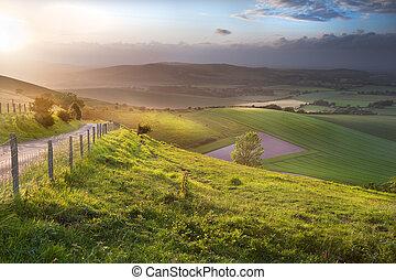 překrásný, vyvýšenina, venkov, nad, anglický, válení krajinomalba