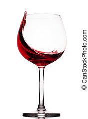Přenáší červené víno na bílé pozadí